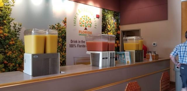 free oj and grapefruit juice station at FL welcome center