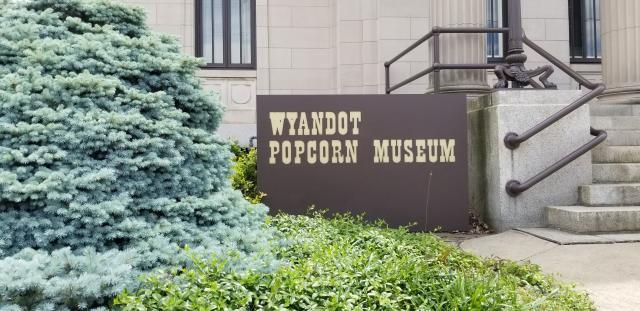 Popcorn museum sign