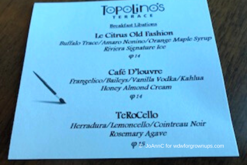 Topolino Cocktail Menu